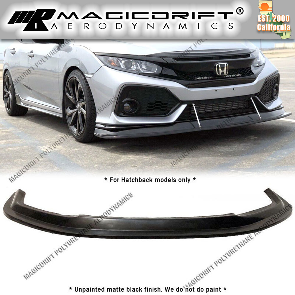 2017 Front Bumper Lip Compatible With 2016-2018 Honda Civic Black PP 10th Gen Air Dam Chin Spoiler by IKON MOTORSPORTS