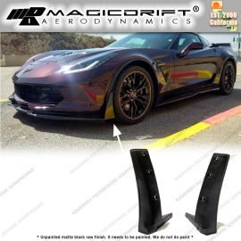 14-19 Chevy Corvette C7 ZR Stage-3 Style Front Bumper Side Corner Winglet Splitter Blades
