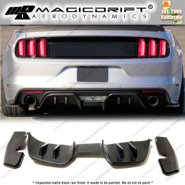 15-17 Ford Mustang 4-Fin Rear Bumper Diffuser w/ Side Valance 3 pcs Kit (Premium Packages only)