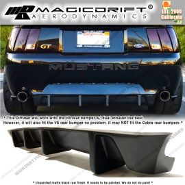 99-04 Ford Mustang MDA Style Rear Bumper Center Lower 4-Fin Diffuser Lip