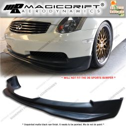03-05 Infiniti G35 2DR Coupe GT Style Front Bumper Chin Spoiler Lip