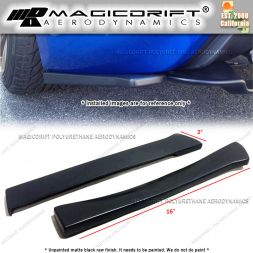 "Universal Fit 16"" Long Black Rear Bumper Sides Extension Splitter Wing Lips"