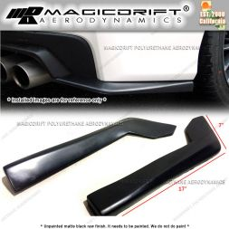 "Universal Fit 17"" x 7"" Black Rear Bumper Sides Extension Splitter Wing Lips"