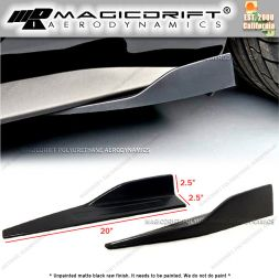 "Universal Fit 20"" x 2.5"" Black Side Skirt Rocker Splitters Winglet Wings"